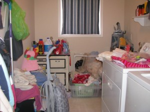 unorganized laundry room