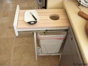 cutting board hole space saver idea